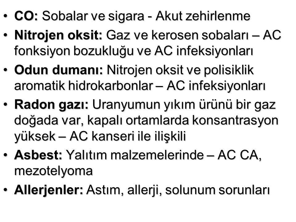 CO: Sobalar ve sigara - Akut zehirlenmeCO: Sobalar ve sigara - Akut zehirlenme Nitrojen oksit: Gaz ve kerosen sobaları – AC fonksiyon bozukluğu ve AC