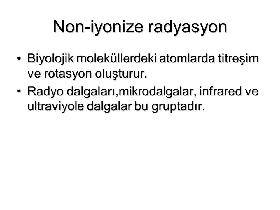 Non-iyonize radyasyon Biyolojik moleküllerdeki atomlarda titreşim ve rotasyon oluşturur.Biyolojik moleküllerdeki atomlarda titreşim ve rotasyon oluştu