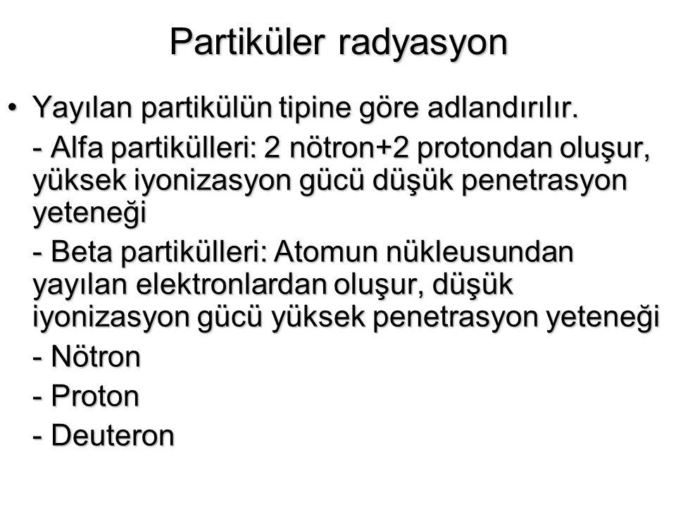 Partiküler radyasyon Yayılan partikülün tipine göre adlandırılır.Yayılan partikülün tipine göre adlandırılır. - Alfa partikülleri: 2 nötron+2 protonda