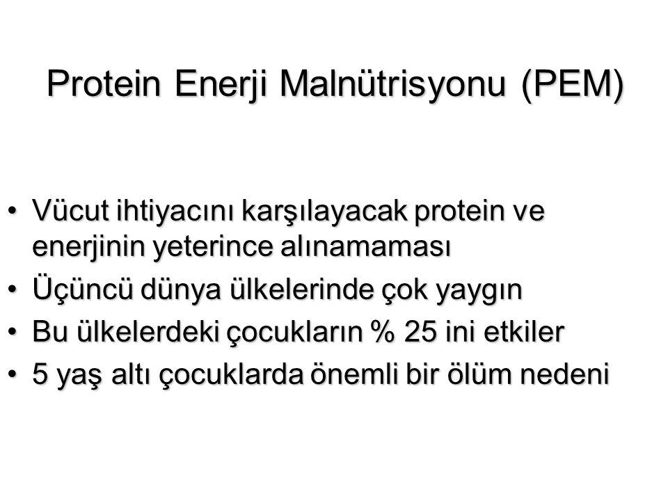 Protein Enerji Malnütrisyonu (PEM) Vücut ihtiyacını karşılayacak protein ve enerjinin yeterince alınamamasıVücut ihtiyacını karşılayacak protein ve en