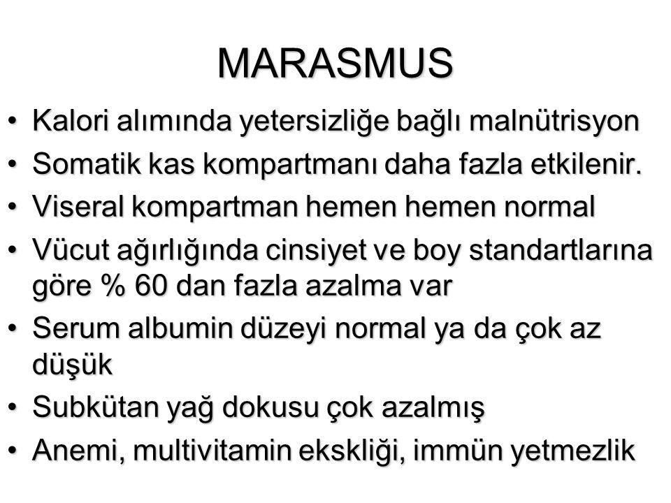 MARASMUS Kalori alımında yetersizliğe bağlı malnütrisyonKalori alımında yetersizliğe bağlı malnütrisyon Somatik kas kompartmanı daha fazla etkilenir.S