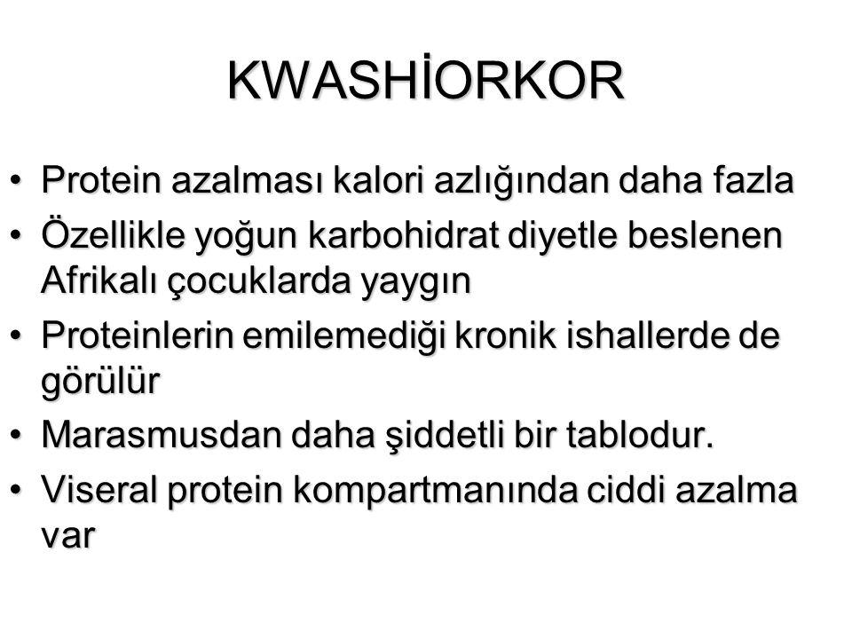 KWASHİORKOR Protein azalması kalori azlığından daha fazlaProtein azalması kalori azlığından daha fazla Özellikle yoğun karbohidrat diyetle beslenen Af