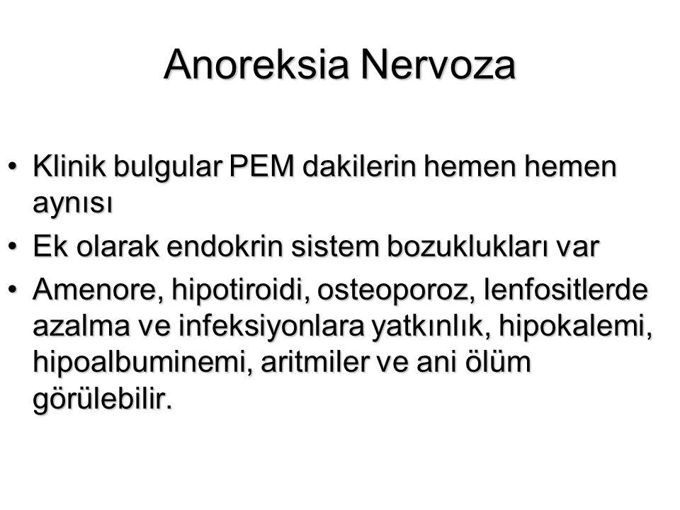 Anoreksia Nervoza Klinik bulgular PEM dakilerin hemen hemen aynısıKlinik bulgular PEM dakilerin hemen hemen aynısı Ek olarak endokrin sistem bozuklukl
