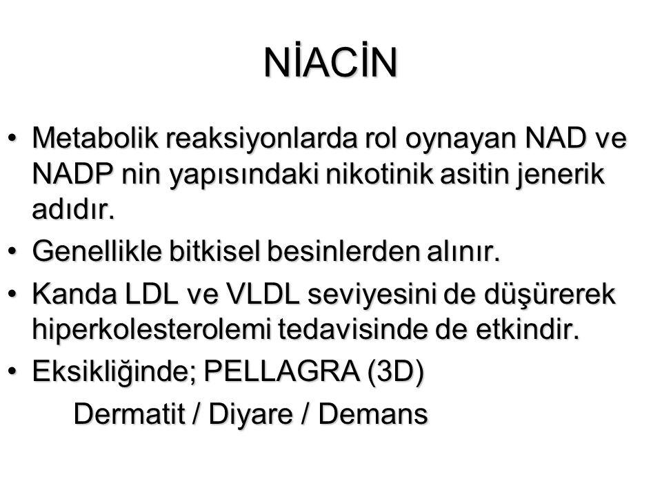 NİACİN Metabolik reaksiyonlarda rol oynayan NAD ve NADP nin yapısındaki nikotinik asitin jenerik adıdır.Metabolik reaksiyonlarda rol oynayan NAD ve NA