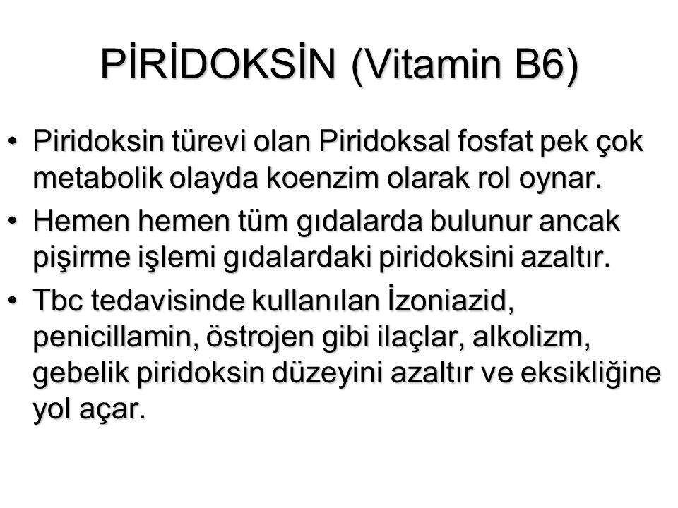 PİRİDOKSİN (Vitamin B6) Piridoksin türevi olan Piridoksal fosfat pek çok metabolik olayda koenzim olarak rol oynar.Piridoksin türevi olan Piridoksal f