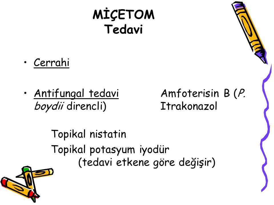 MİÇETOM Tedavi Cerrahi Antifungal tedavi Amfoterisin B (P. boydii direncli) Itrakonazol Topikal nistatin Topikal potasyum iyodür (tedavi etkene göre d