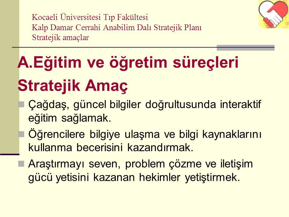 Kocaeli Üniversitesi Tıp Fakültesi Kalp Damar Cerrahi Anabilim Dalı Stratejik Planı Stratejik amaçlar A.Eğitim ve öğretim süreçleri Stratejik Amaç Çağ