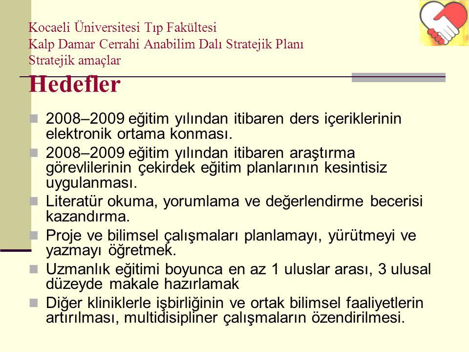Kocaeli Üniversitesi Tıp Fakültesi Kalp Damar Cerrahi Anabilim Dalı Stratejik Planı Stratejik amaçlar Hedefler 2008–2009 eğitim yılından itibaren ders