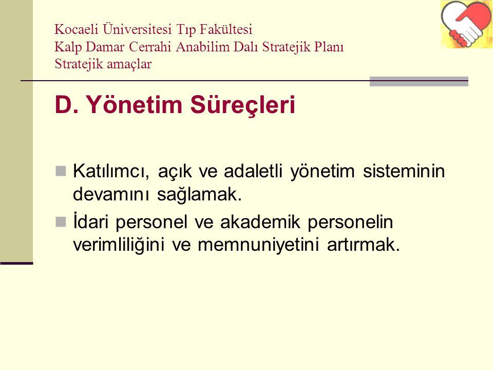 Kocaeli Üniversitesi Tıp Fakültesi Kalp Damar Cerrahi Anabilim Dalı Stratejik Planı Stratejik amaçlar D. Yönetim Süreçleri Katılımcı, açık ve adaletli
