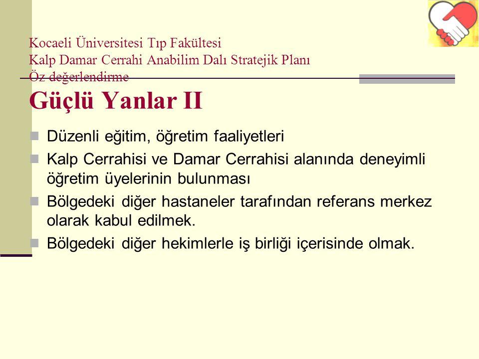 Kocaeli Üniversitesi Tıp Fakültesi Kalp Damar Cerrahi Anabilim Dalı Stratejik Planı Öz değerlendirme Güçlü Yanlar II Düzenli eğitim, öğretim faaliyetl