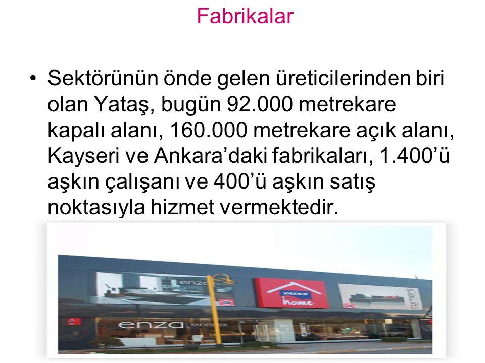 Fabrikalar Sektörünün önde gelen üreticilerinden biri olan Yataş, bugün 92.000 metrekare kapalı alanı, 160.000 metrekare açık alanı, Kayseri ve Ankara'daki fabrikaları, 1.400'ü aşkın çalışanı ve 400'ü aşkın satış noktasıyla hizmet vermektedir.