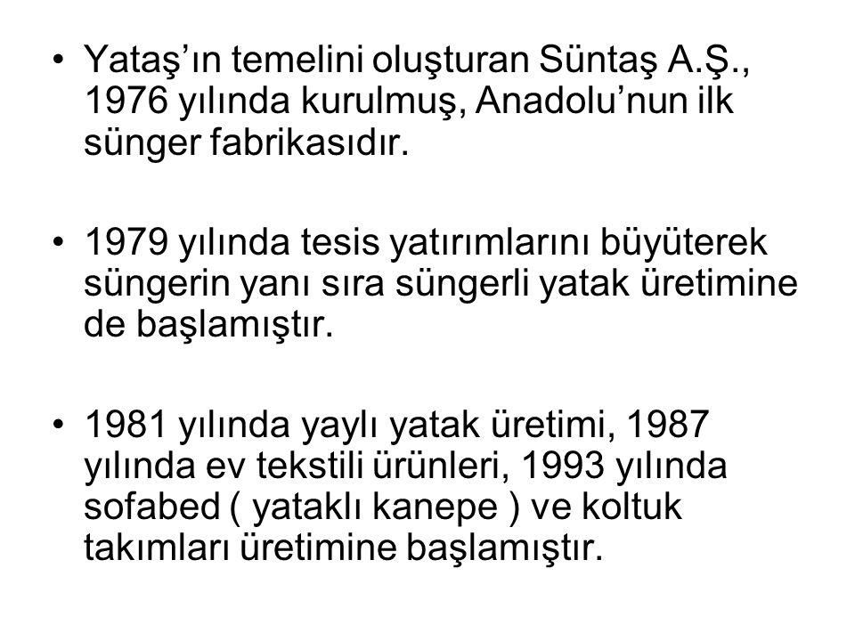 Yataş'ın temelini oluşturan Süntaş A.Ş., 1976 yılında kurulmuş, Anadolu'nun ilk sünger fabrikasıdır. 1979 yılında tesis yatırımlarını büyüterek sünger