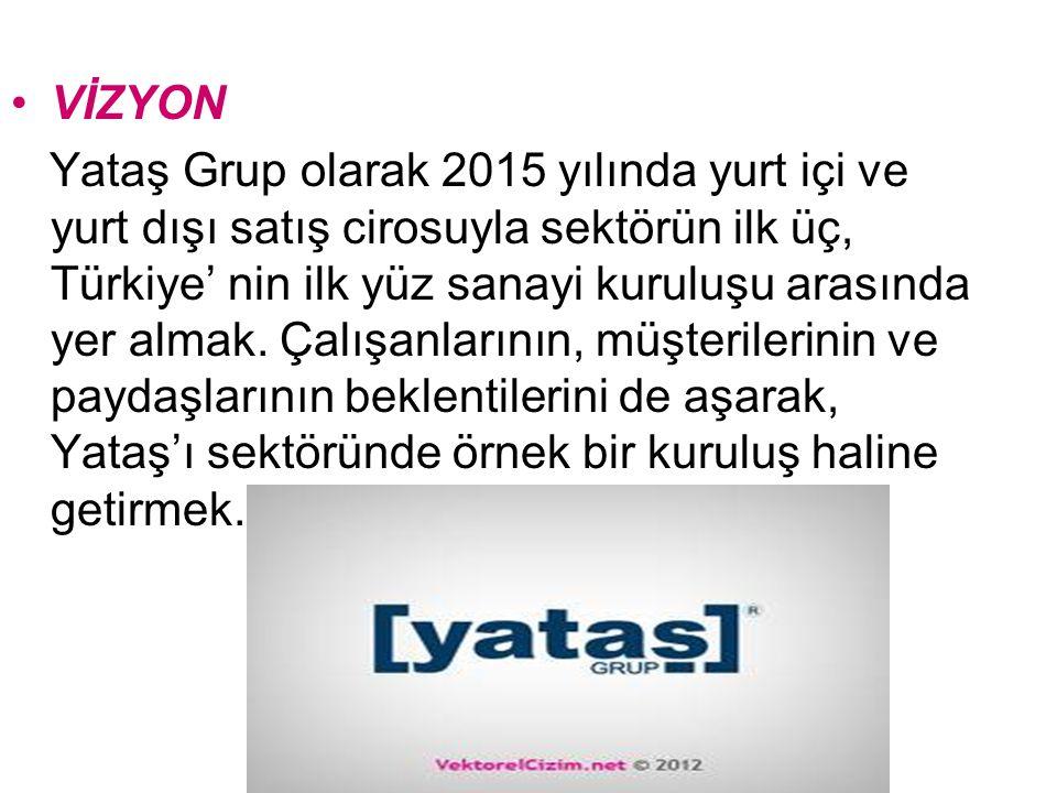 VİZYON Yataş Grup olarak 2015 yılında yurt içi ve yurt dışı satış cirosuyla sektörün ilk üç, Türkiye' nin ilk yüz sanayi kuruluşu arasında yer almak.