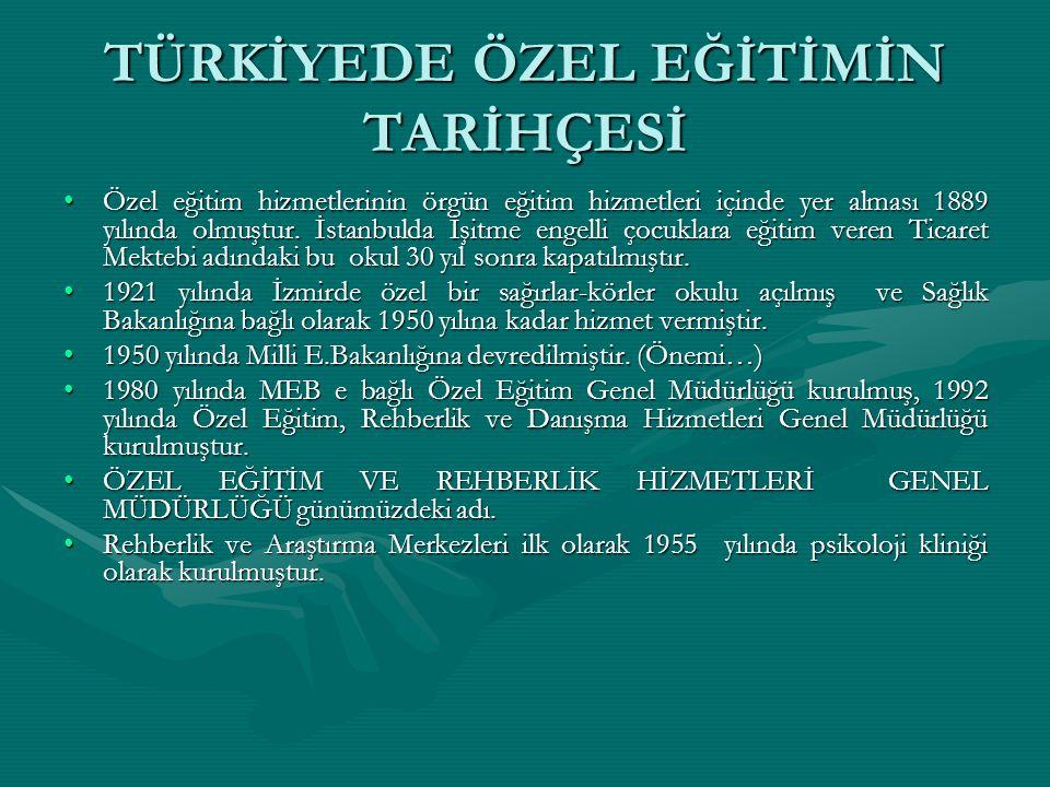 TÜRKİYEDE ÖZEL EĞİTİMİN TARİHÇESİ Özel eğitim hizmetlerinin örgün eğitim hizmetleri içinde yer alması 1889 yılında olmuştur. İstanbulda İşitme engelli