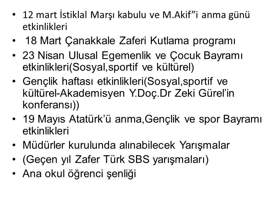 """12 mart İstiklal Marşı kabulu ve M.Akif""""i anma günü etkinlikleri 18 Mart Çanakkale Zaferi Kutlama programı 23 Nisan Ulusal Egemenlik ve Çocuk Bayramı"""