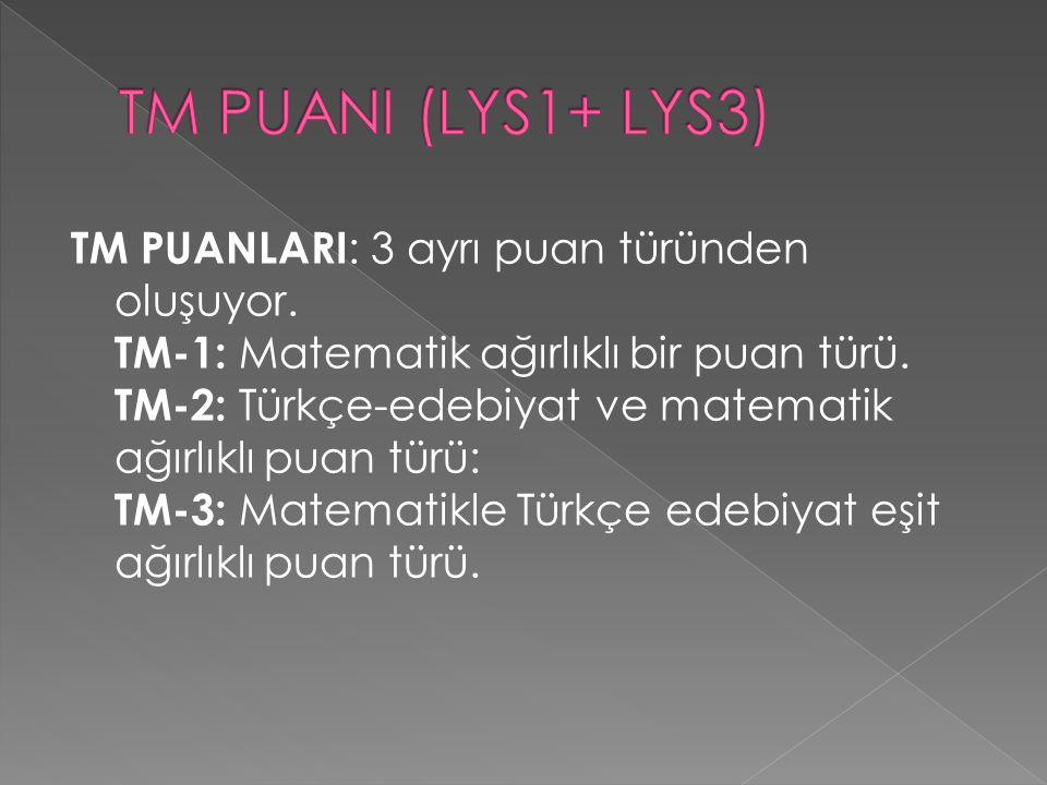 TM PUANLARI : 3 ayrı puan türünden oluşuyor. TM-1: Matematik ağırlıklı bir puan türü.