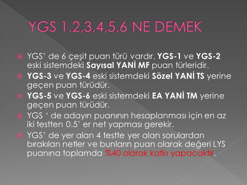  YGS' de 6 çeşit puan türü vardır. YGS-1 ve YGS-2 eski sistemdeki Sayısal YANİ MF puan türleridir.