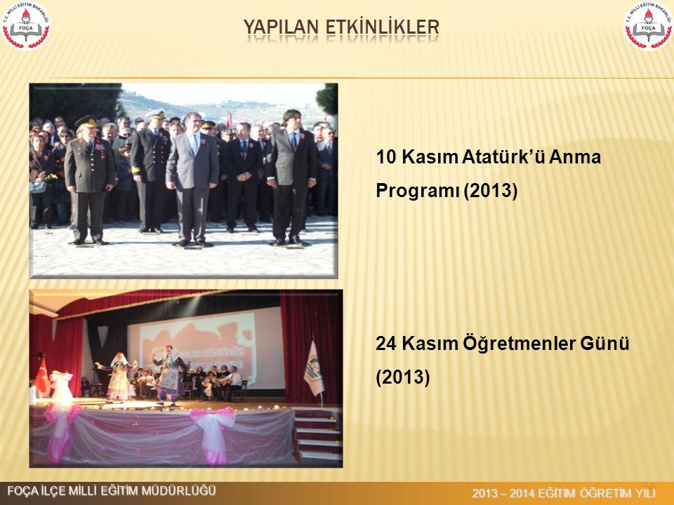 56 10 Kasım Atatürk'ü Anma Programı (2013) 24 Kasım Öğretmenler Günü (2013) FOÇA İLÇE MİLLİ EĞİTİM MÜDÜRLÜĞÜ 2013 – 2014 EĞİTİM ÖĞRETİM YILI