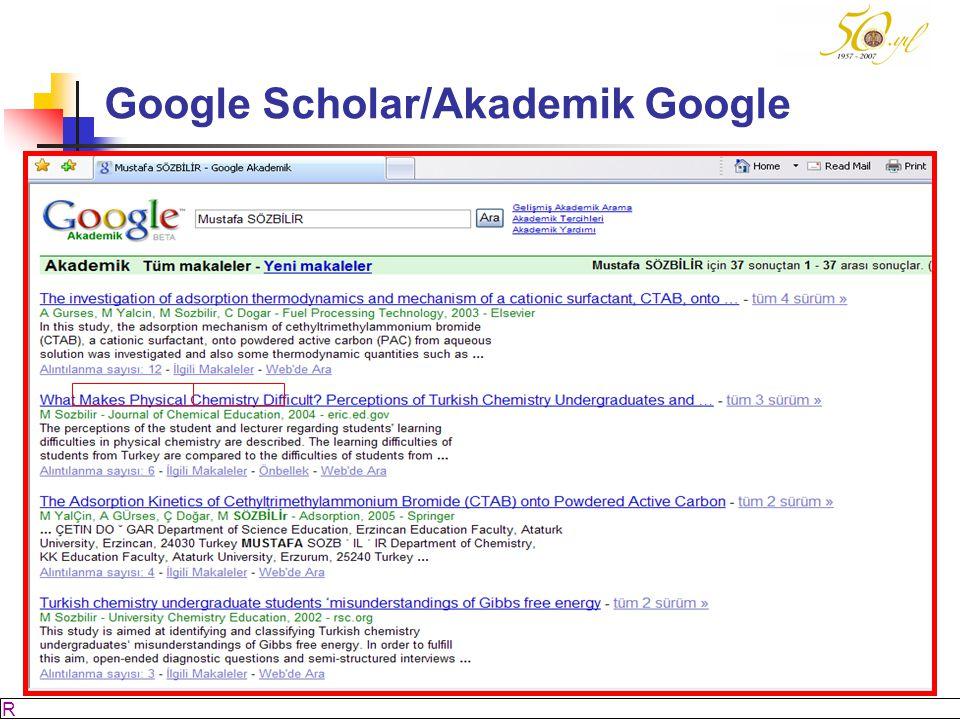 M SÖZBİLİR Slayt: 17 Google Scholar/Akademik Google