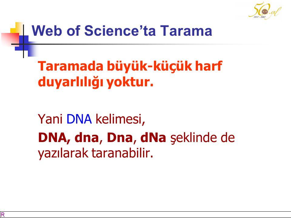 M SÖZBİLİR Slayt: 23 Web of Science'ta Tarama Taramada büyük-küçük harf duyarlılığı yoktur.