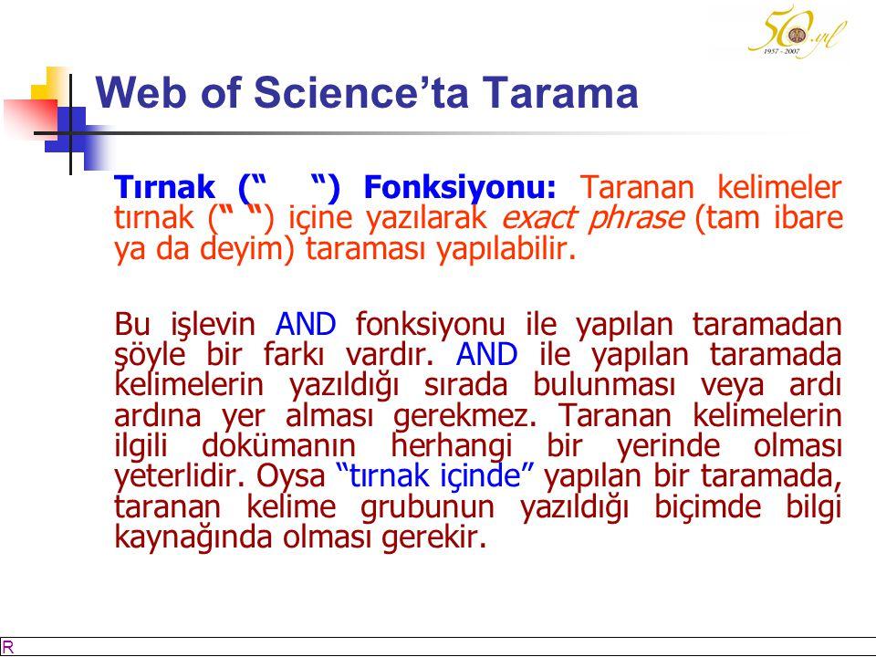 M SÖZBİLİR Slayt: 31 Web of Science'ta Tarama Tırnak ( ) Fonksiyonu: Taranan kelimeler tırnak ( ) içine yazılarak exact phrase (tam ibare ya da deyim) taraması yapılabilir.