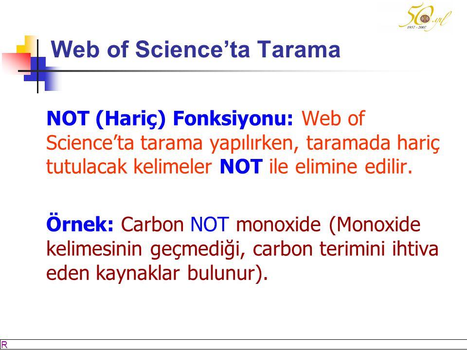 M SÖZBİLİR Slayt: 32 Web of Science'ta Tarama NOT (Hariç) Fonksiyonu: Web of Science'ta tarama yapılırken, taramada hariç tutulacak kelimeler NOT ile elimine edilir.