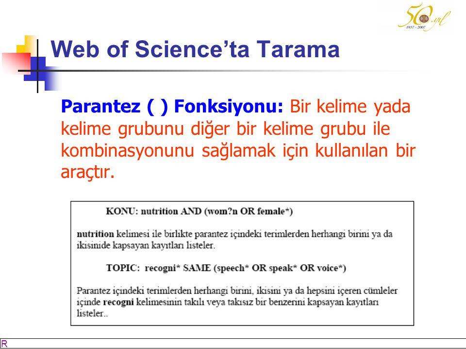 M SÖZBİLİR Slayt: 34 Web of Science'ta Tarama Parantez ( ) Fonksiyonu: Bir kelime yada kelime grubunu diğer bir kelime grubu ile kombinasyonunu sağlamak için kullanılan bir araçtır.