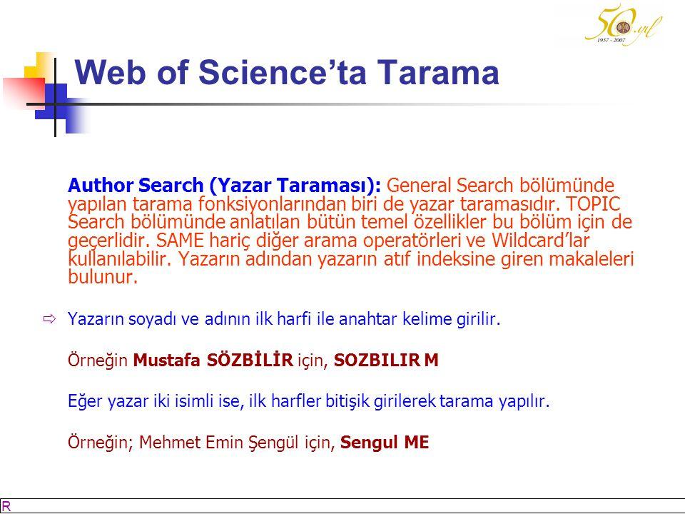 M SÖZBİLİR Slayt: 38 Web of Science'ta Tarama Author Search (Yazar Taraması): General Search bölümünde yapılan tarama fonksiyonlarından biri de yazar taramasıdır.