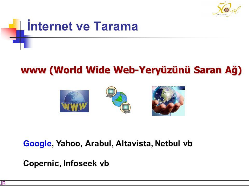 M SÖZBİLİR Slayt: 4 www (World Wide Web-Yeryüzünü Saran Ağ) Google, Yahoo, Arabul, Altavista, Netbul vb Copernic, Infoseek vb İnternet ve Tarama