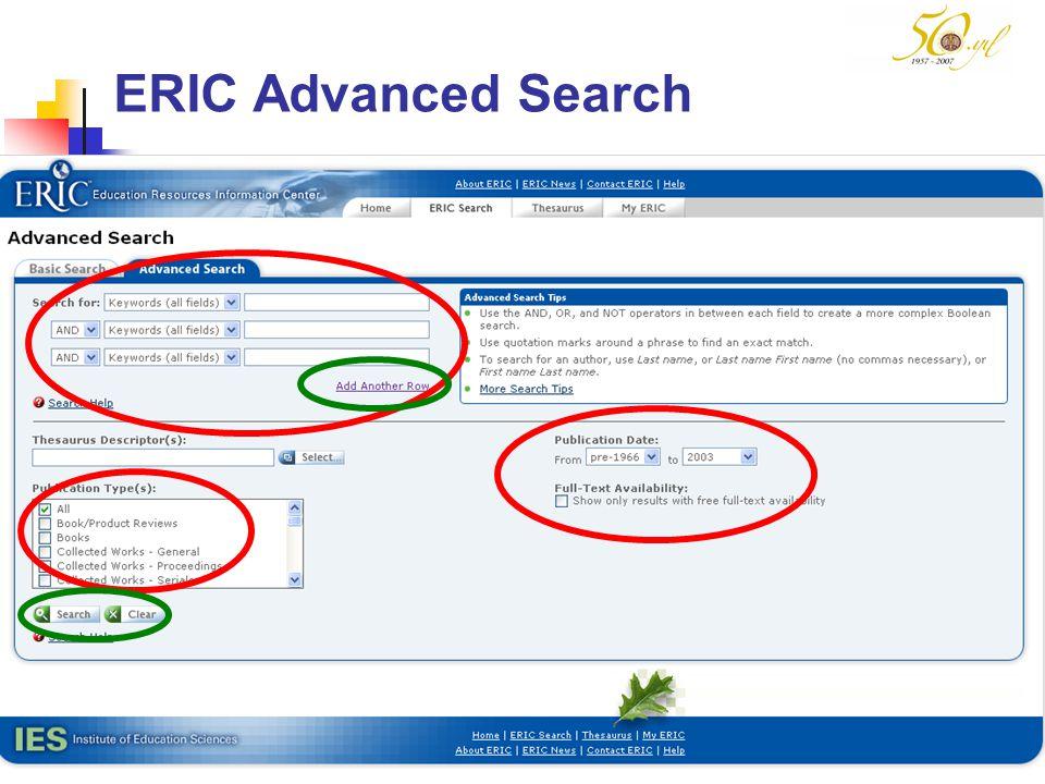 M SÖZBİLİR Slayt: 40 ERIC Advanced Search