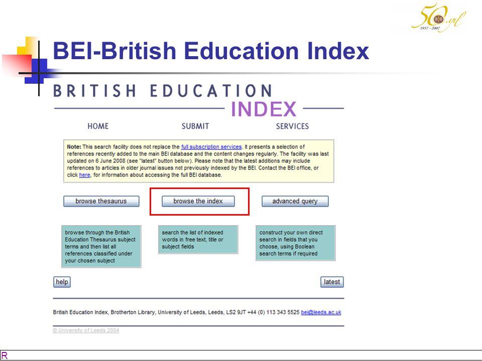 M SÖZBİLİR Slayt: 45 BEI-British Education Index