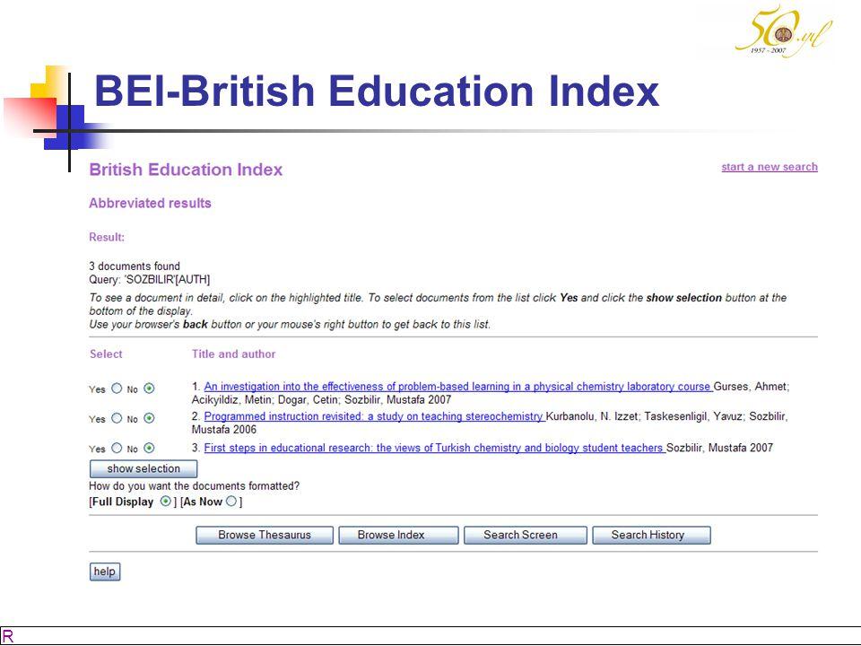 M SÖZBİLİR Slayt: 47 BEI-British Education Index