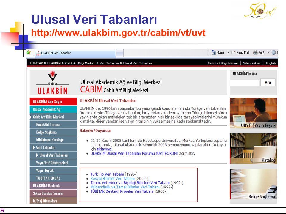 M SÖZBİLİR Slayt: 49 Ulusal Veri Tabanları http://www.ulakbim.gov.tr/cabim/vt/uvt