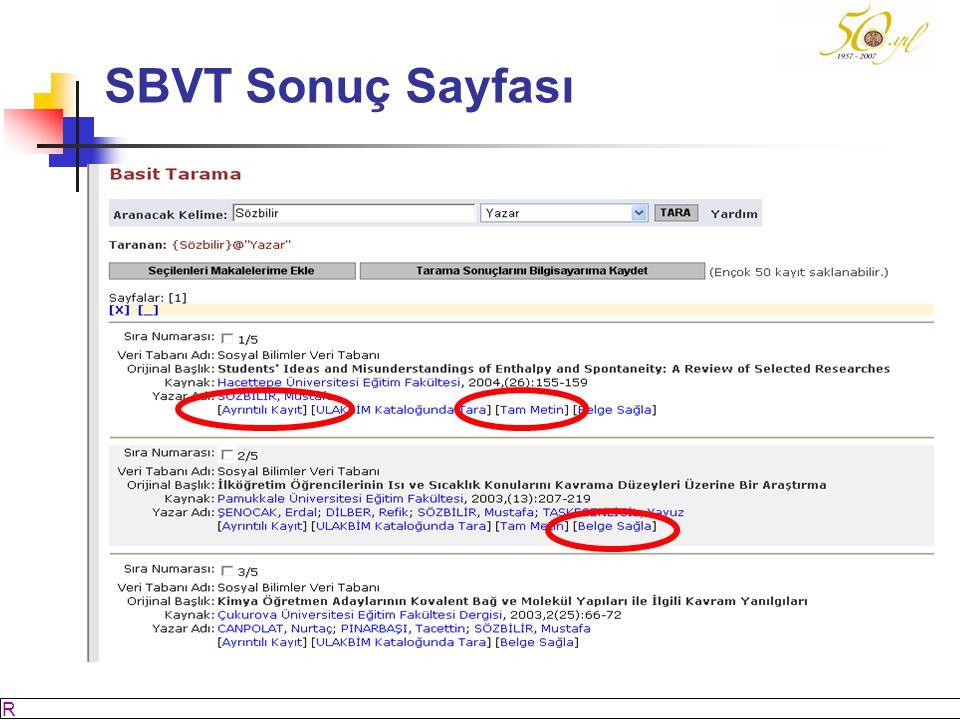 M SÖZBİLİR Slayt: 53 SBVT Sonuç Sayfası