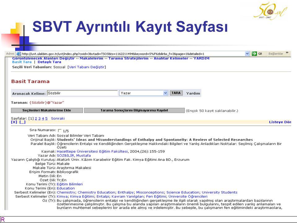 M SÖZBİLİR Slayt: 54 SBVT Ayrıntılı Kayıt Sayfası