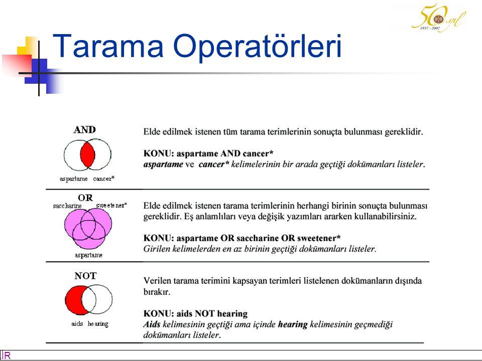 M SÖZBİLİR Slayt: 8 Tarama Operatörleri