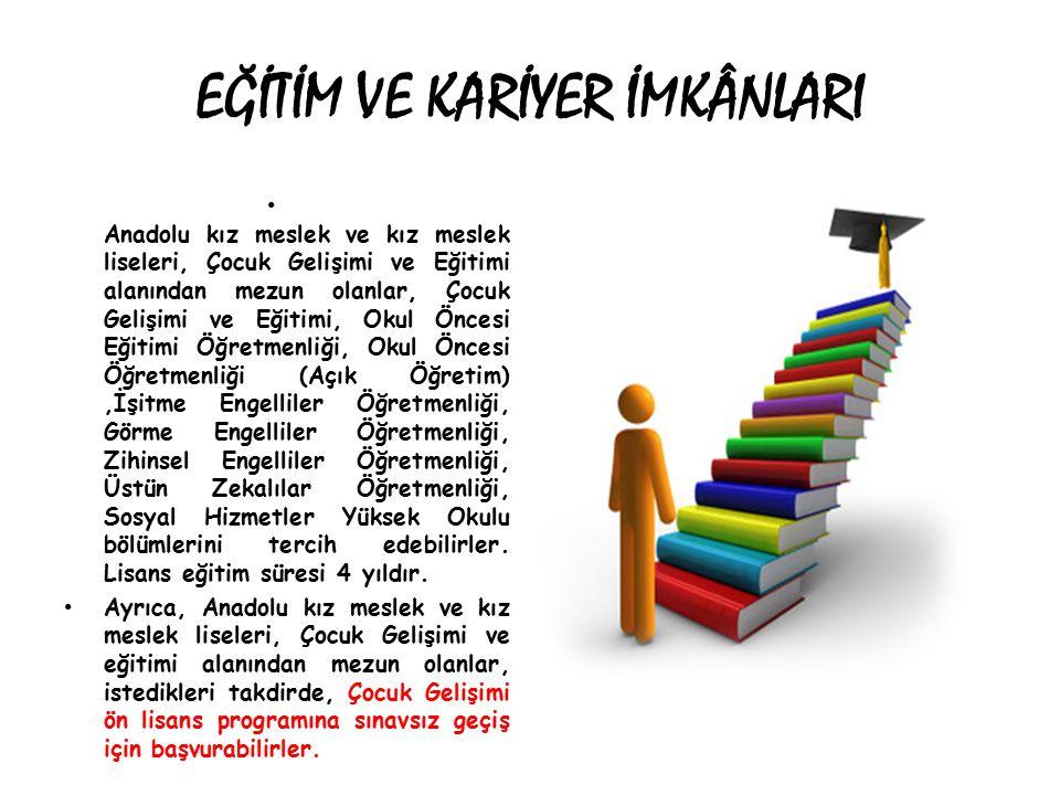 EĞİTİM VE KARİYER İMKÂNLARI Anadolu kız meslek ve kız meslek liseleri, Çocuk Gelişimi ve Eğitimi alanından mezun olanlar, Çocuk Gelişimi ve Eğitimi, Okul Öncesi Eğitimi Öğretmenliği, Okul Öncesi Öğretmenliği (Açık Öğretim),İşitme Engelliler Öğretmenliği, Görme Engelliler Öğretmenliği, Zihinsel Engelliler Öğretmenliği, Üstün Zekalılar Öğretmenliği, Sosyal Hizmetler Yüksek Okulu bölümlerini tercih edebilirler.