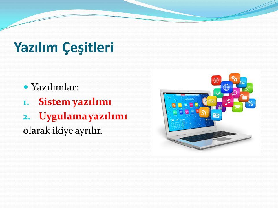 2 - Uygulama Yazılımı Kullanıcıların belli başlı bazı işlemleri yapmalarını sağlayan yazılımlardır.