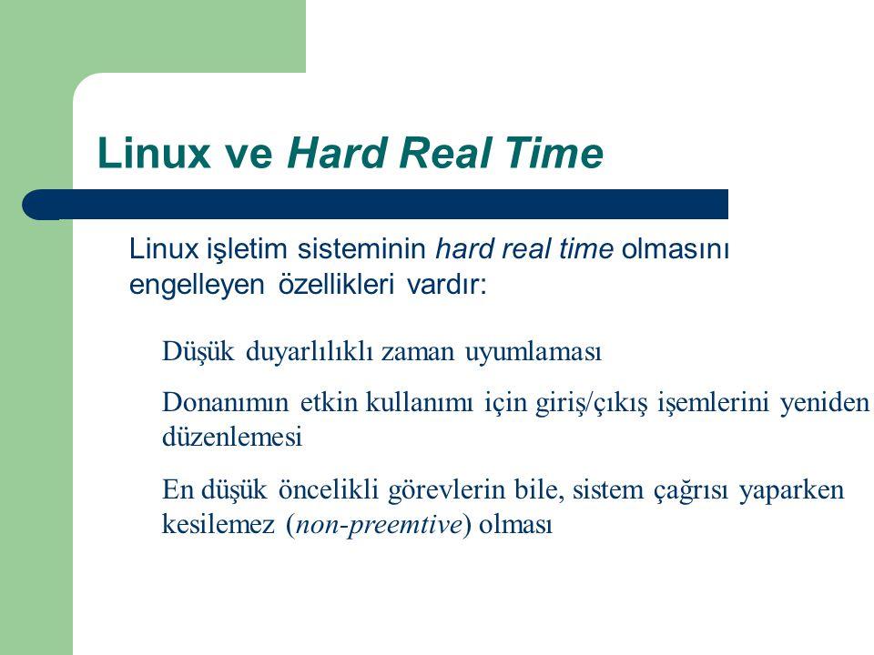 Linux ve Hard Real Time Linux işletim sisteminin hard real time olmasını engelleyen özellikleri vardır: Düşük duyarlılıklı zaman uyumlaması Donanımın etkin kullanımı için giriş/çıkış işemlerini yeniden düzenlemesi En düşük öncelikli görevlerin bile, sistem çağrısı yaparken kesilemez (non-preemtive) olması