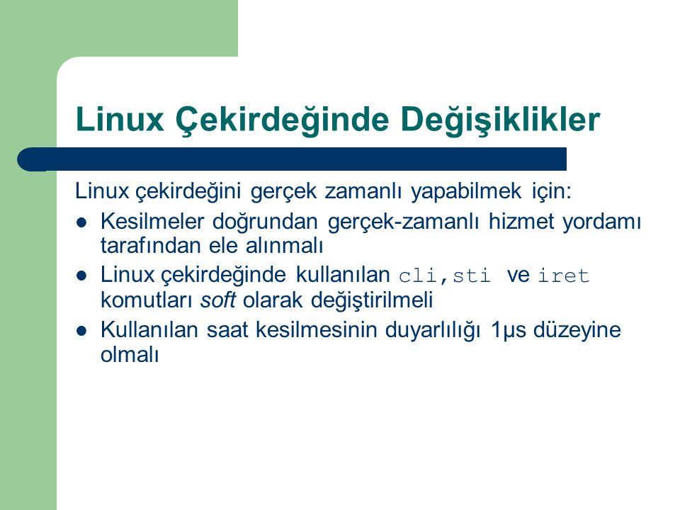 Linux Çekirdeğinde Değişiklikler Linux çekirdeğini gerçek zamanlı yapabilmek için: Kesilmeler doğrundan gerçek-zamanlı hizmet yordamı tarafından ele alınmalı Linux çekirdeğinde kullanılan cli,sti ve iret komutları soft olarak değiştirilmeli Kullanılan saat kesilmesinin duyarlılığı 1μs düzeyine olmalı