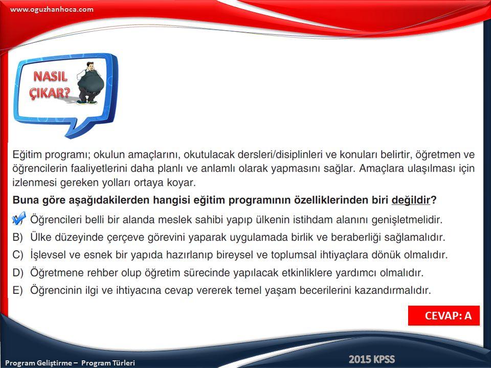 Program Geliştirme – Program Türleri www.oguzhanhoca.com CEVAP: A CEVAP: A