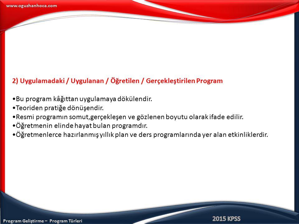 Program Geliştirme – Program Türleri www.oguzhanhoca.com 2) Uygulamadaki / Uygulanan / Öğretilen / Gerçekleştirilen Program Bu program kâğıttan uygula