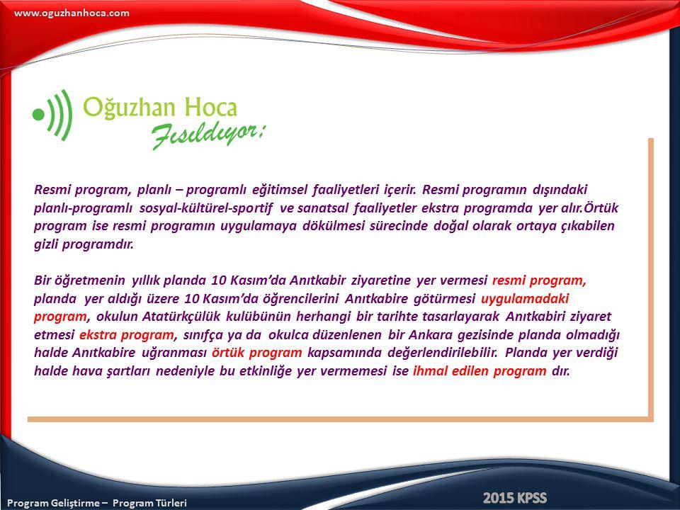 Program Geliştirme – Program Türleri www.oguzhanhoca.com Resmi program, planlı – programlı eğitimsel faaliyetleri içerir. Resmi programın dışındaki pl