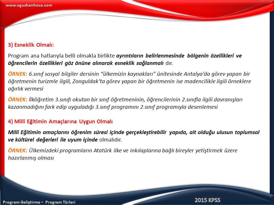 Program Geliştirme – Program Türleri www.oguzhanhoca.com 3) Esneklik Olmalı: Program ana hatlarıyla belli olmakla birlikte ayrıntıların belirlenmesind