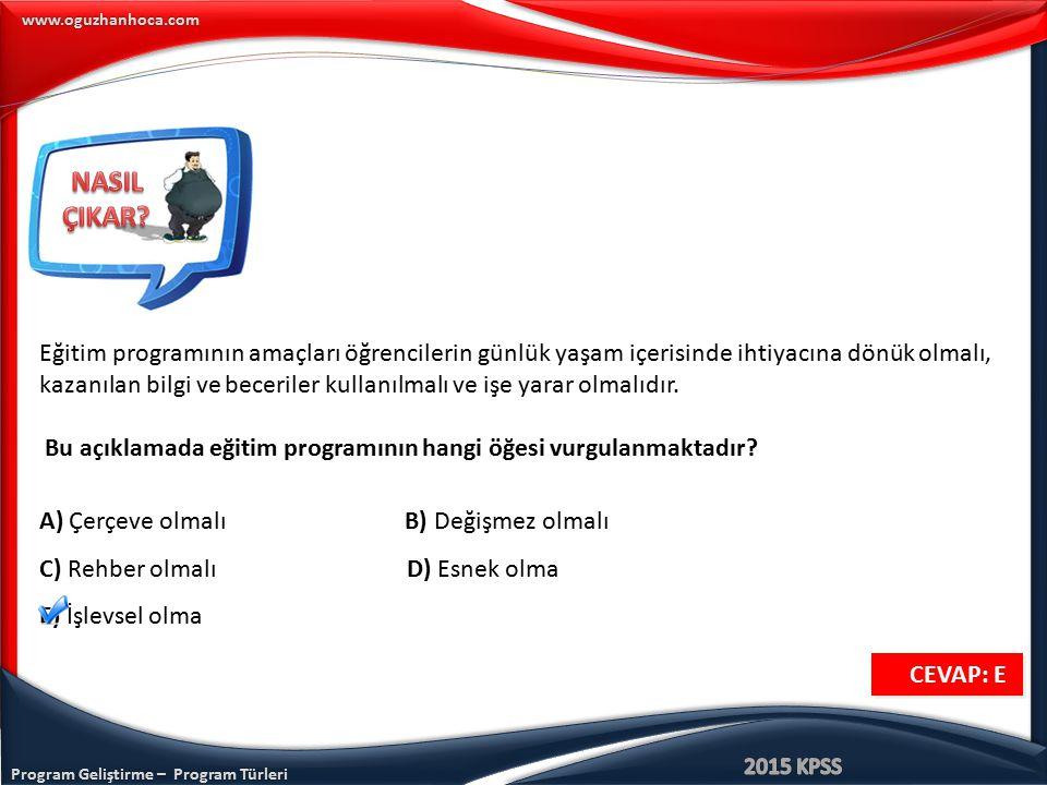 Program Geliştirme – Program Türleri www.oguzhanhoca.com Eğitim programının amaçları öğrencilerin günlük yaşam içerisinde ihtiyacına dönük olmalı, kaz