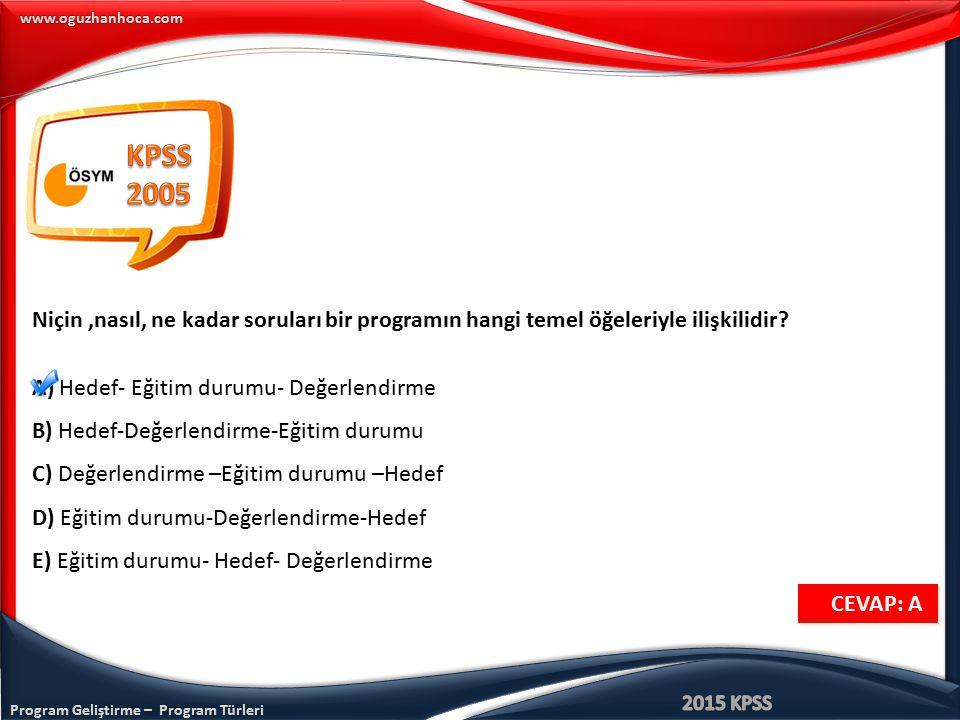Program Geliştirme – Program Türleri www.oguzhanhoca.com CEVAP: A CEVAP: A Niçin,nasıl, ne kadar soruları bir programın hangi temel öğeleriyle ilişkil