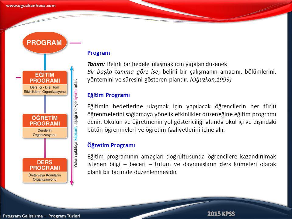 Program Geliştirme – Program Türleri www.oguzhanhoca.com Ders Programı Öğretim programı içerisinde yer alan her bir ders kapsamında ulaşılacak hedeflerin, içeriğin, öğrenme-öğretme sürecinin ve değerlendirme etkinliklerinin programlanmasıdır.