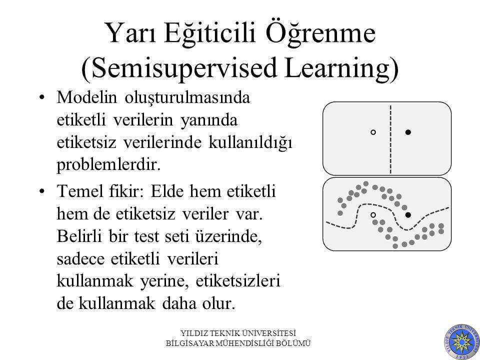 Yarı Eğiticili Öğrenme (Semisupervised Learning) Modelin oluşturulmasında etiketli verilerin yanında etiketsiz verilerinde kullanıldığı problemlerdir.
