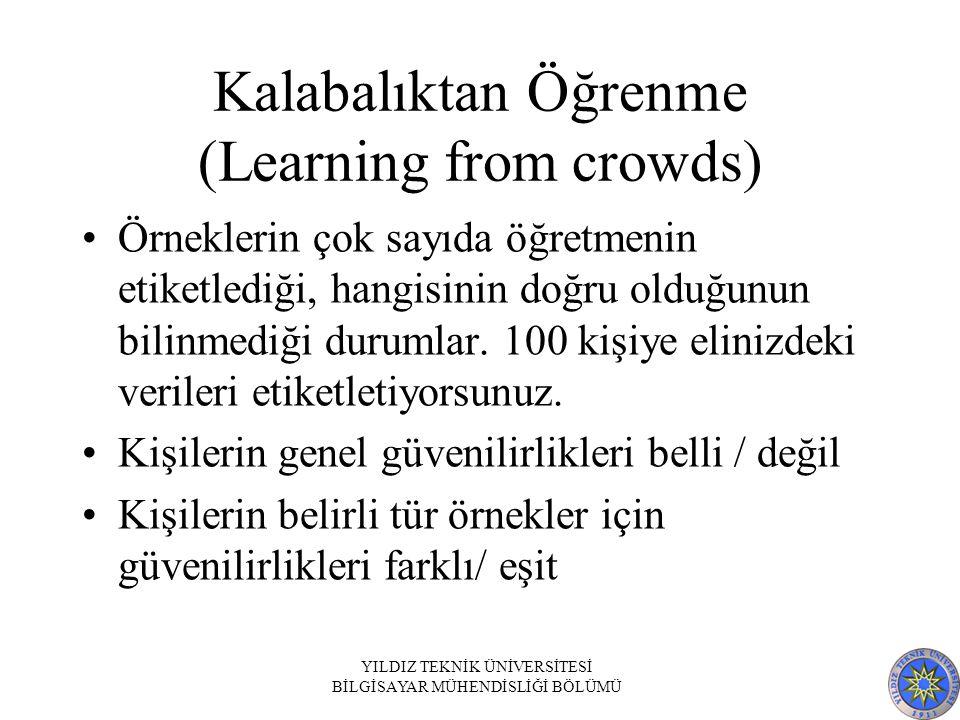 Kalabalıktan Öğrenme (Learning from crowds) Örneklerin çok sayıda öğretmenin etiketlediği, hangisinin doğru olduğunun bilinmediği durumlar. 100 kişiye