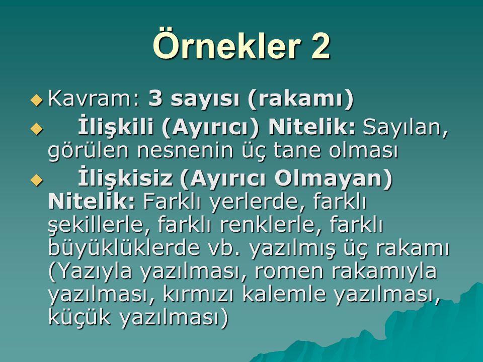 Örnekler 2  Kavram: 3 sayısı (rakamı)  İlişkili (Ayırıcı) Nitelik: Sayılan, görülen nesnenin üç tane olması  İlişkisiz (Ayırıcı Olmayan) Nitelik: F
